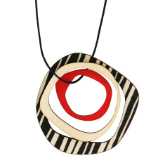 Retro black thick stripes with red necklace