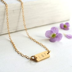 Personalised Gold Mini Bar Initials Necklace