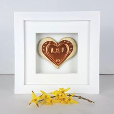 Framed Foil Heart Anniversary Wooden Gift