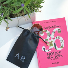 Hand Painted Soft Leather Drawstring Glasses and Accessories Pouch for her
