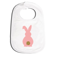 Girls' easter pink bunny bling tail bib