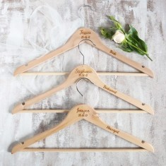 Bridal party wedding personalised coat hangers
