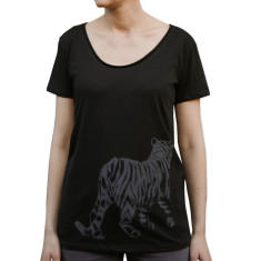 Women's tiger black organic cotton t-shirt