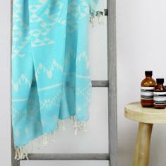 Santorini Turkish Towel in Turquoise
