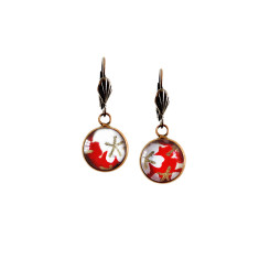 Vintage style Japanese chiyogami lever-back earrings in red