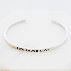 Live laugh love bangle in silver