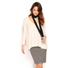 Pencil Skirt Midi - Black & Cement Stripe