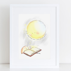 Book & Moon art print
