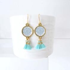 Turquoise tassel earrings in versailles
