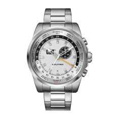 CAT Worldtimer series with alarm in steel with silver and black face