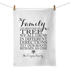 Family roots personalised tea towel