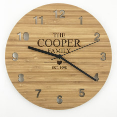 Personalised Family Bamboo Wall Clock