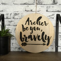 Personalised be you bravely plywood/black wall hanging