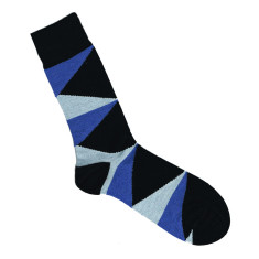 Lafitte black and blue triangle wool socks