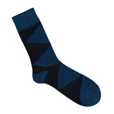 Lafitte blue and charcoal wool socks
