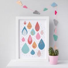 Colourful Raindrops Nursery Print