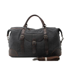 Large Canvas Travel Duffle Bag With Leather Handle In Black