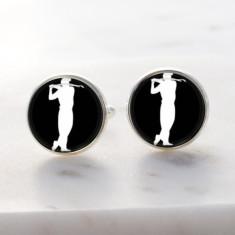 Golf silver cufflinks
