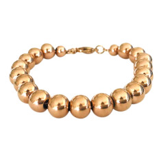 Stainless steel ball bracelet in silver, gold or rose gold plate