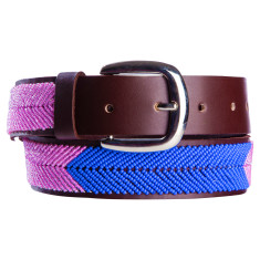 Leather beaded belt in pink/blue