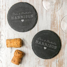 Personalised Images Wedding Slate Coaster Set