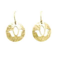 Lotus disc drop earrings in 18 kt yellow gold plate