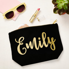 Black Make Up Case With Gold Name
