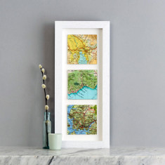 Three map squares personalised wedding print