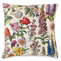 Flowers linen cushion cover