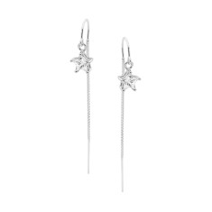 Sterling silver cubic zirconia star ear thread earrings