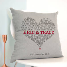 Personalised Names In Heart Cushion