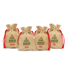Set of 4 Mini Vintage Christmas Sacks (Various Designs)