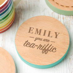 Personalised 'You Are Tea Riffic' Coloured Edge Coaster