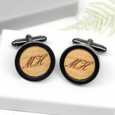 Personalised gun metal initial cufflinks