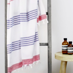 Capri Turkish Towel in Red & Blue