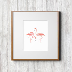 Tropical series art prints (flamingos)