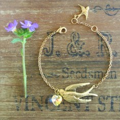 Violetta gold swallow and Swarovski crystal bracelet