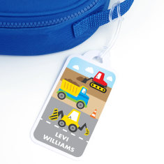 Personalised Construction School Bag Tag