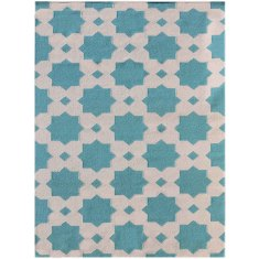 Feza turquoise handmade flat weave rug