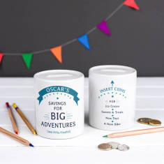 Personalised Big Adventures, Little Treats Money Box