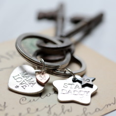 Personalised silver keyring