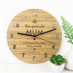 Personalised Time Spent Bamboo Wall Clock