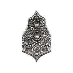 Tribal boho silver statement ring