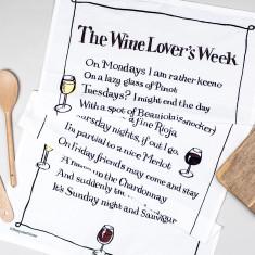 Wine lover's week poem tea towel