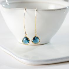 Midnight Blue Gold Raindrop Earrings