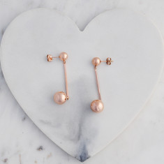 Bar and ball drop earrings in rose gold
