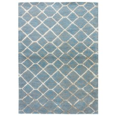 Sky/Pastel Blue hand tufted wool & art silk rug