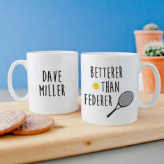 Personalised 'Betterer Than Federer' Tennis Mug