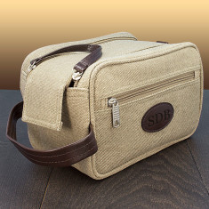Men's Personalised Textured Canvas Double Zipped Wash Bag