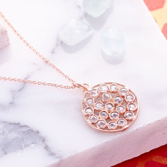 Mosaic frame pendant necklace in rose gold